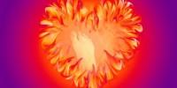 Hilda vlammend hart met voetstap